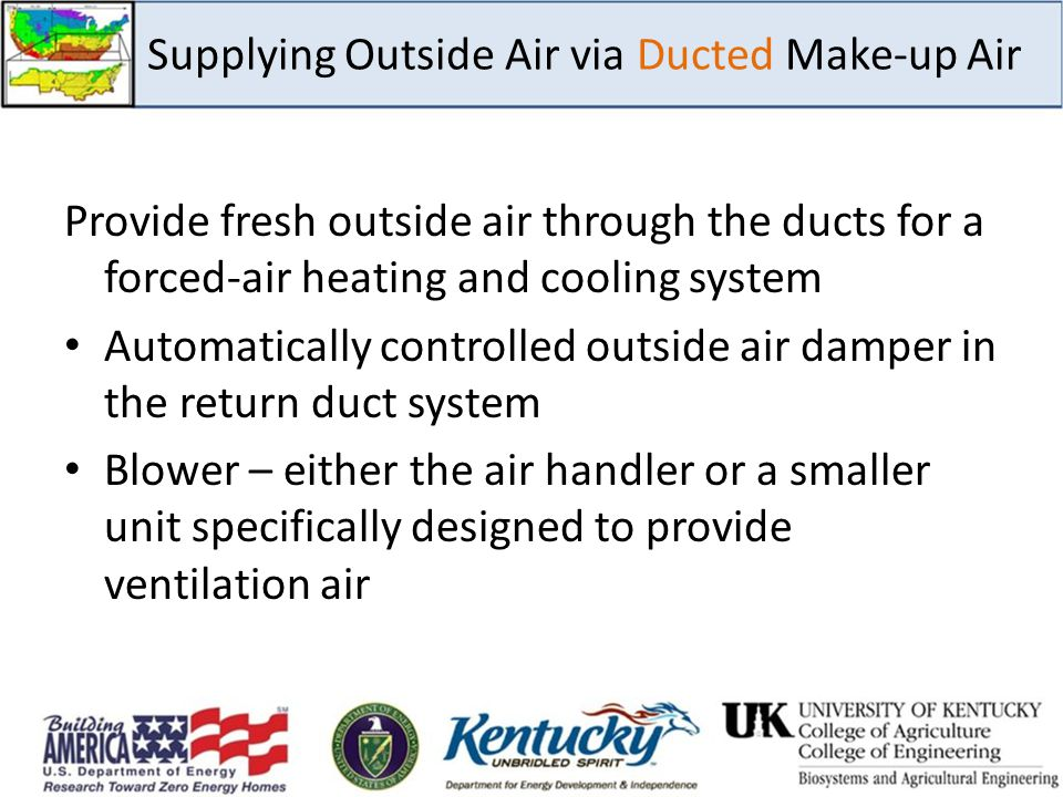 Supplying Outside Air via Ducted Make-up Air Provide fresh outside air through the ducts for a forced-air heating and cooling system Automatically con