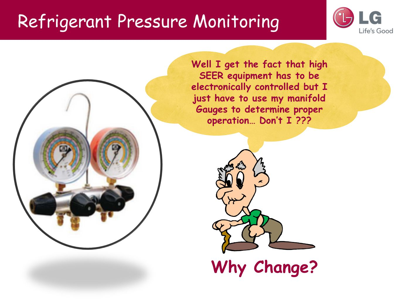Refrigerant Pressure Monitoring Well I get the fact that high SEER equipment has to be electronically controlled but I just have to use my manifold Ga