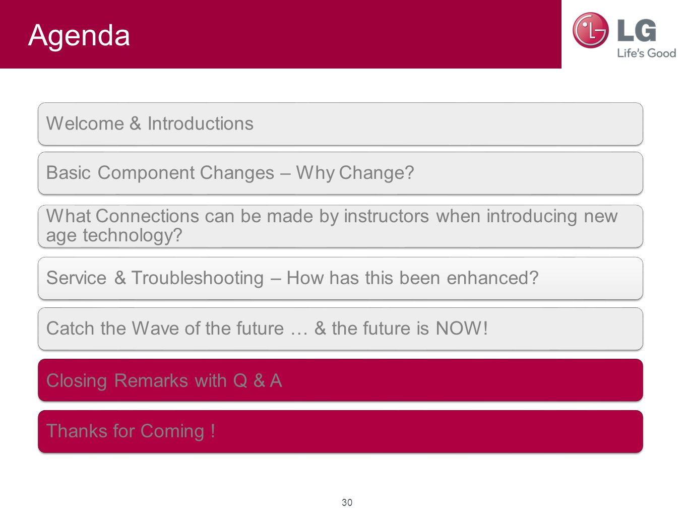 Agenda Welcome & IntroductionsBasic Component Changes – Why Change? What Connections can be made by instructors when introducing new age technology? S