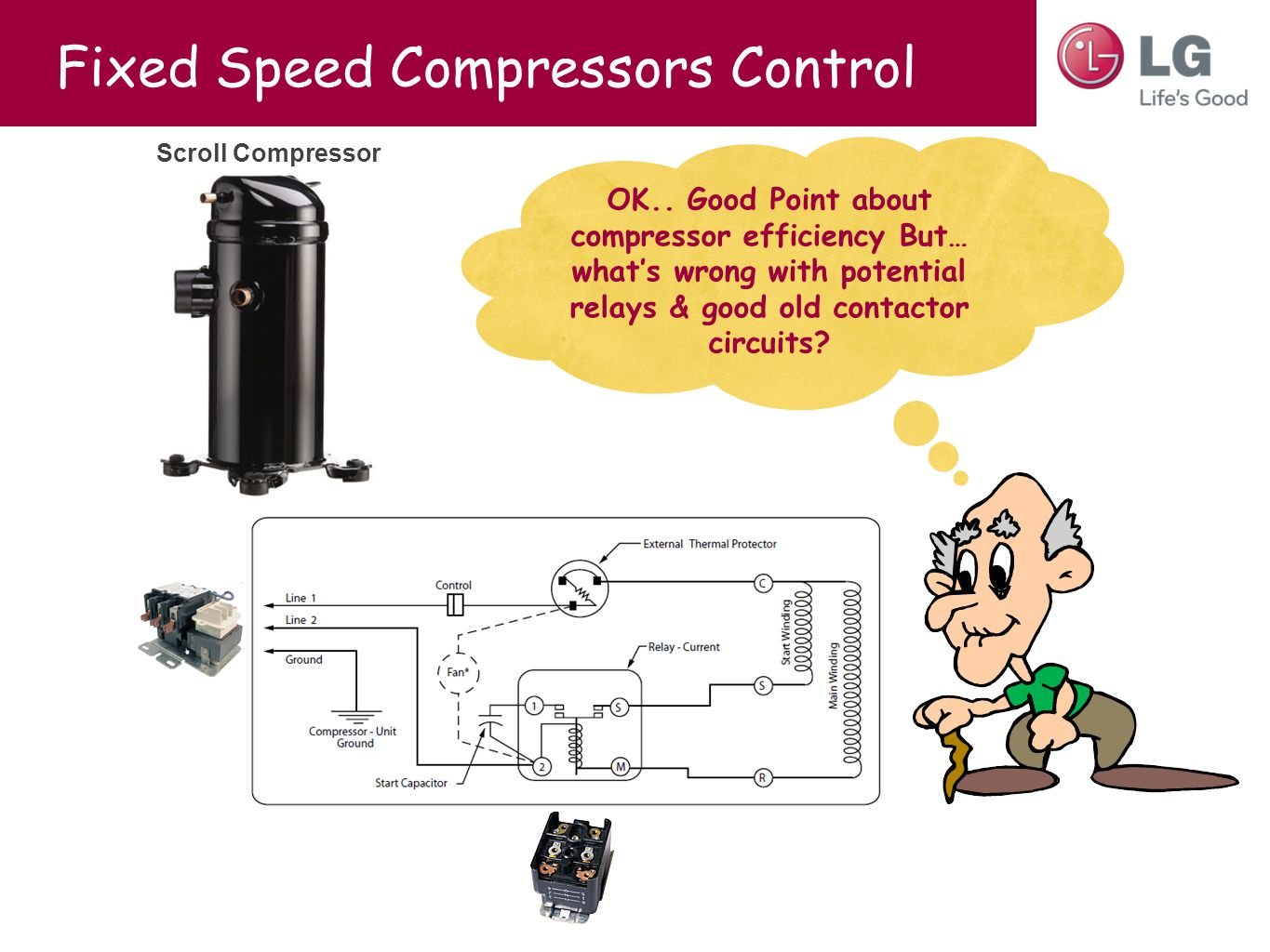 Fixed Speed Compressors Control Scroll Compressor OK.. Good Point about compressor efficiency But… what's wrong with potential relays & good old conta