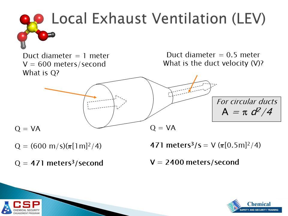 Duct diameter = 1 meter V = 600 meters/second What is Q? Duct diameter = 0.5 meter What is the duct velocity (V)? Q = VA Q = (600 m/s)(  [1m] 2 /4) Q