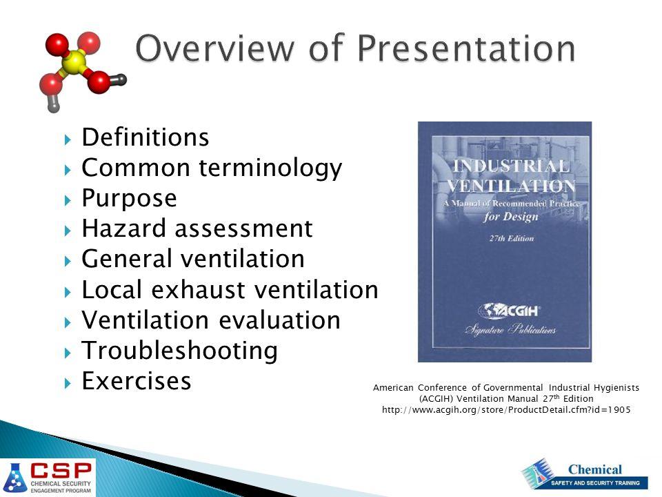  Definitions  Common terminology  Purpose  Hazard assessment  General ventilation  Local exhaust ventilation  Ventilation evaluation  Troubles