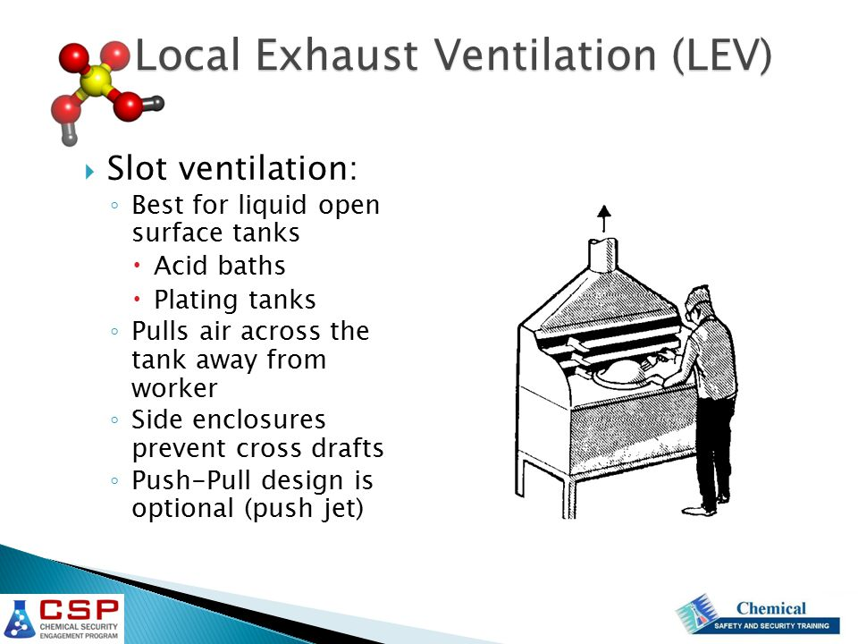  Slot ventilation: ◦ Best for liquid open surface tanks  Acid baths  Plating tanks ◦ Pulls air across the tank away from worker ◦ Side enclosures p