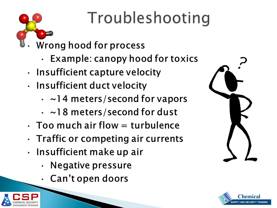 Wrong hood for process Example: canopy hood for toxics Insufficient capture velocity Insufficient duct velocity ~14 meters/second for vapors ~18 meter