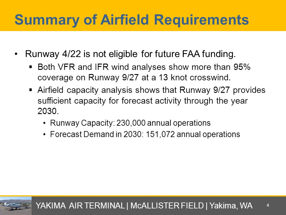 Summary of Airfield Requirements Runway 4/22 is not eligible for future FAA funding.  Both VFR and IFR wind analyses show more than 95% coverage on R