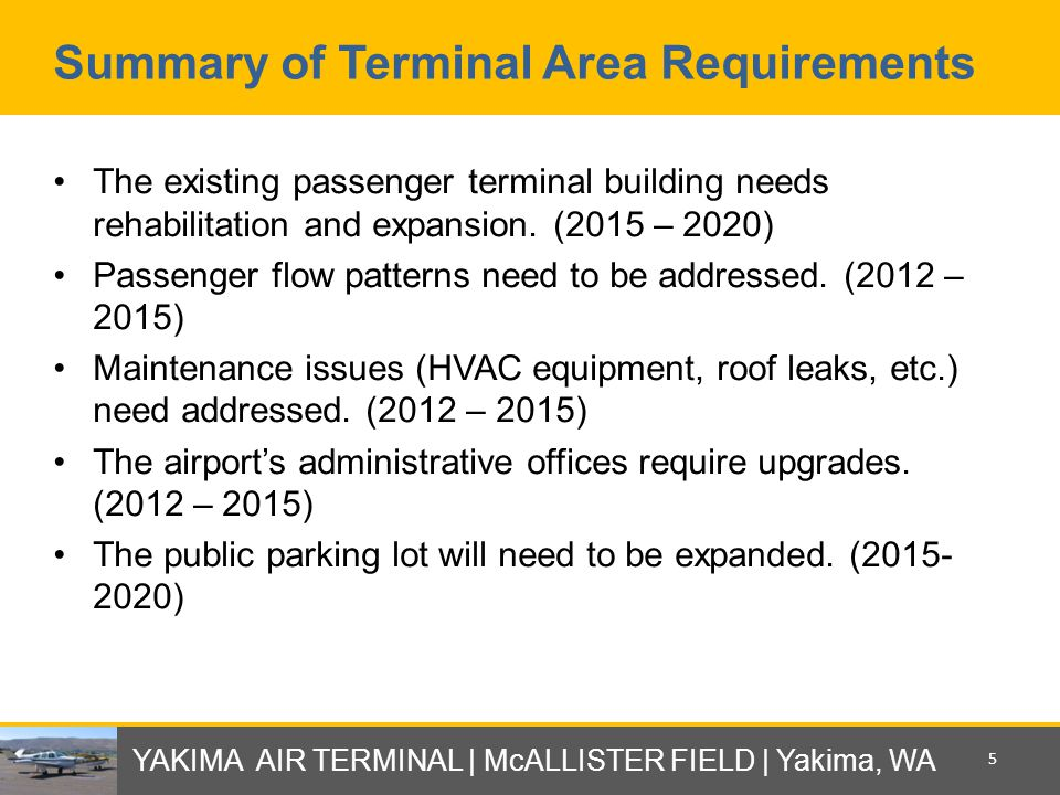 Summary of Terminal Area Requirements The existing passenger terminal building needs rehabilitation and expansion.