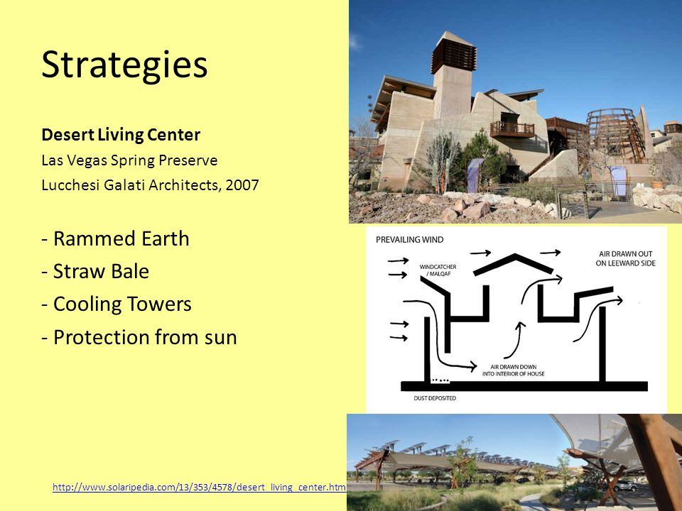 Strategies Desert Living Center Las Vegas Spring Preserve Lucchesi Galati Architects, 2007 - Rammed Earth - Straw Bale - Cooling Towers - Protection from sun http://www.solaripedia.com/13/353/4578/desert_living_center.html
