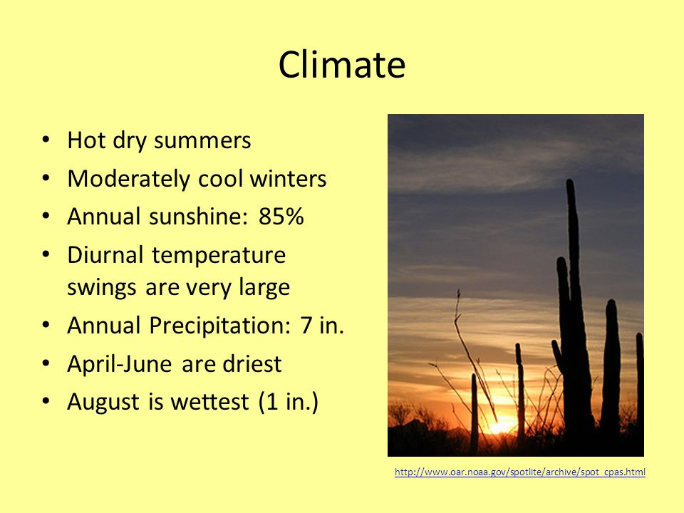 Climate Hot dry summers Moderately cool winters Annual sunshine: 85% Diurnal temperature swings are very large Annual Precipitation: 7 in.