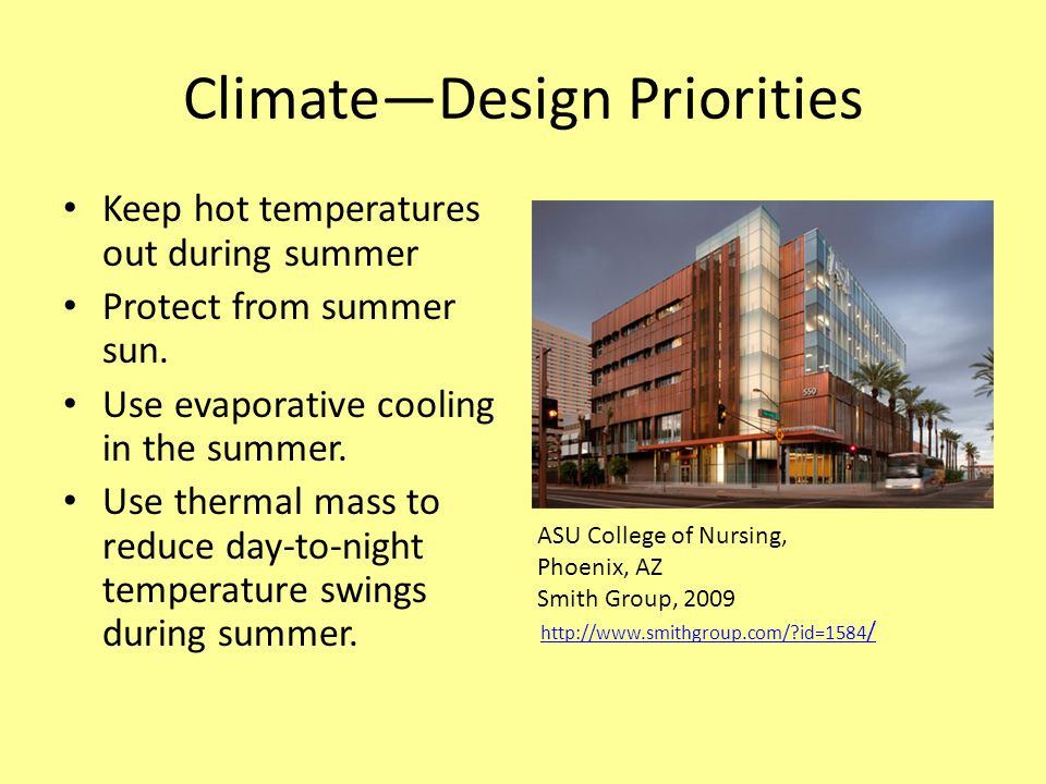 Climate—Design Priorities Keep hot temperatures out during summer Protect from summer sun.