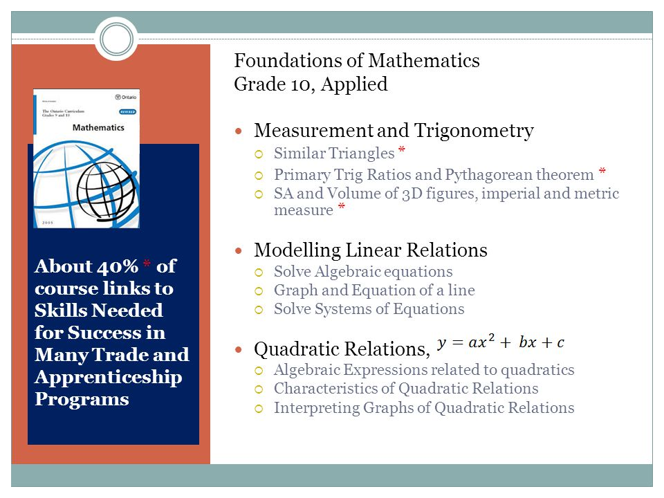 About 40% * of course links to Skills Needed for Success in Many Trade and Apprenticeship Programs Foundations of Mathematics Grade 10, Applied Measurement and Trigonometry  Similar Triangles *  Primary Trig Ratios and Pythagorean theorem *  SA and Volume of 3D figures, imperial and metric measure * Modelling Linear Relations  Solve Algebraic equations  Graph and Equation of a line  Solve Systems of Equations Quadratic Relations,  Algebraic Expressions related to quadratics  Characteristics of Quadratic Relations  Interpreting Graphs of Quadratic Relations