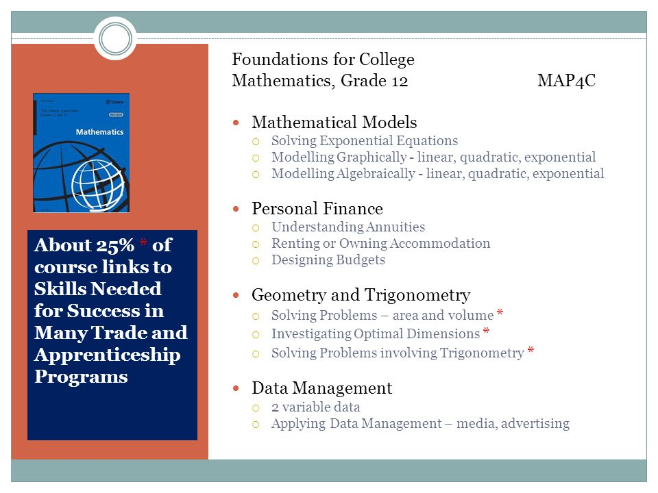 About 25% * of course links to Skills Needed for Success in Many Trade and Apprenticeship Programs Foundations for College Mathematics, Grade 12 MAP4C Mathematical Models  Solving Exponential Equations  Modelling Graphically - linear, quadratic, exponential  Modelling Algebraically - linear, quadratic, exponential Personal Finance  Understanding Annuities  Renting or Owning Accommodation  Designing Budgets Geometry and Trigonometry  Solving Problems – area and volume *  Investigating Optimal Dimensions *  Solving Problems involving Trigonometry * Data Management  2 variable data  Applying Data Management – media, advertising