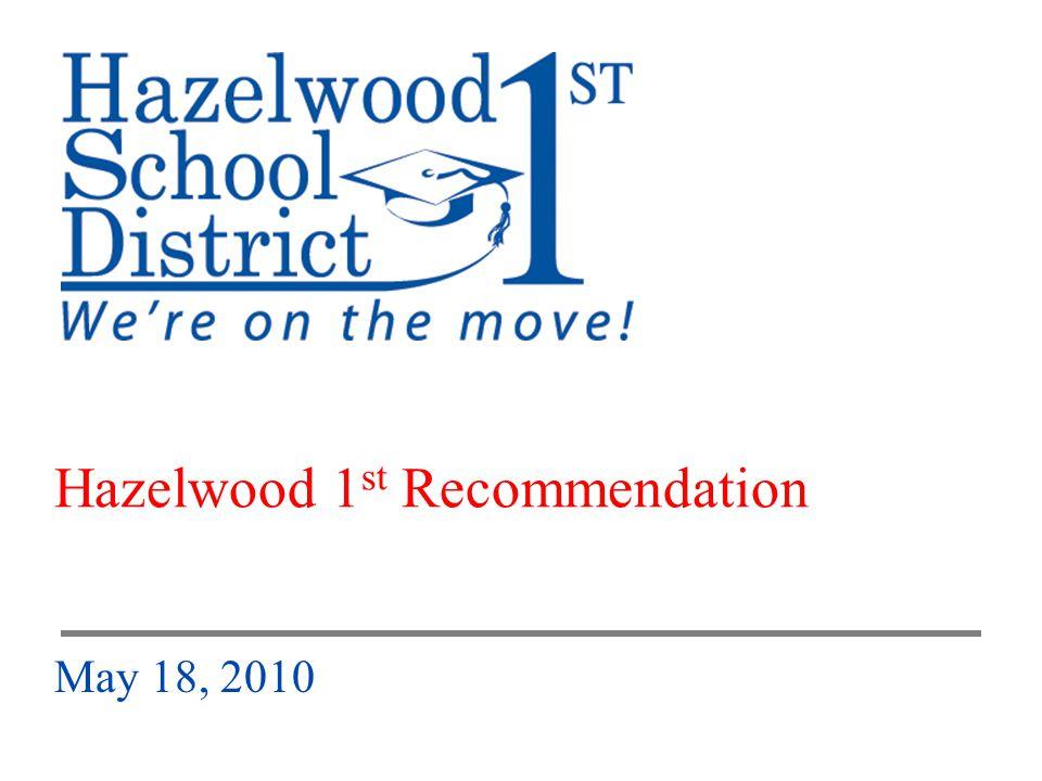 HSD Hazelwood 1 st Board of Education Presentation – May 18, 2010 1 Hazelwood 1 st Recommendation May 18, 2010