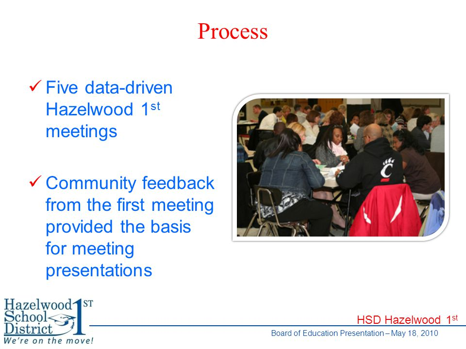 HSD Hazelwood 1 st Board of Education Presentation – May 18, 2010 Process Five data-driven Hazelwood 1 st meetings Community feedback from the first meeting provided the basis for meeting presentations