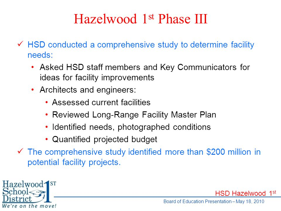 HSD Hazelwood 1 st Board of Education Presentation – May 18, 2010 Participants Facilitating Team Residents Parents Staff Representatives Expert Resources