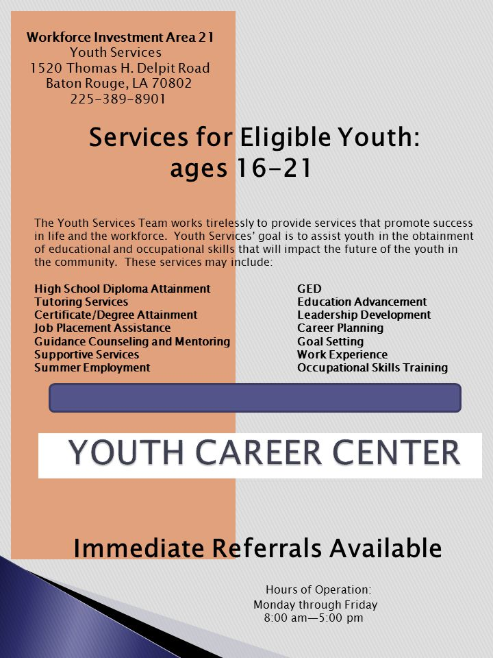 Immediate Referrals Available Workforce Investment Area 21 Youth Services 1520 Thomas H.