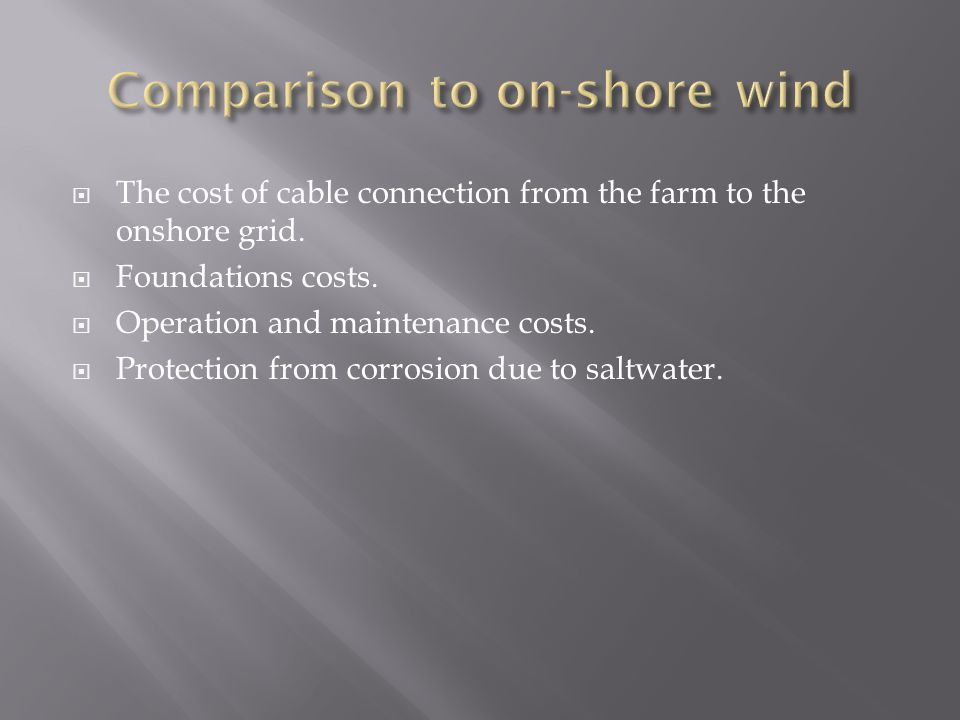  The cost of cable connection from the farm to the onshore grid.