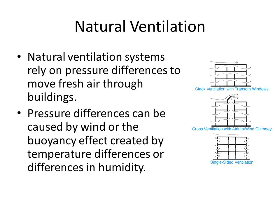 Natural Ventilation Natural ventilation systems rely on pressure differences to move fresh air through buildings. Pressure differences can be caused b