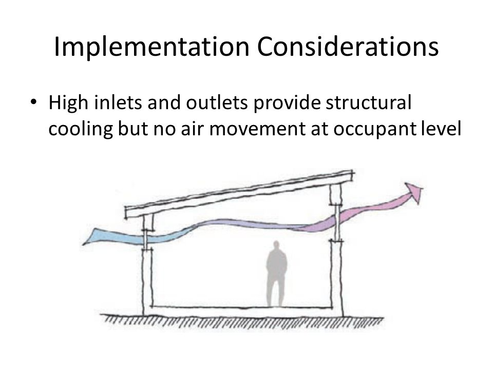 Implementation Considerations High inlets and outlets provide structural cooling but no air movement at occupant level