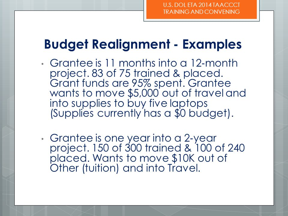 U.S. DOL ETA 2014 TAACCCT TRAINING AND CONVENING Budget Realignment - Examples Grantee is 11 months into a 12 ‐ month project. 83 of 75 trained & plac