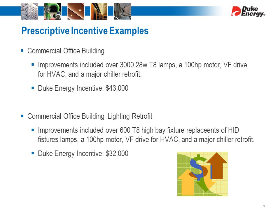 Prescriptive Incentive Examples  Commercial Office Building  Improvements included over 3000 28w T8 lamps, a 100hp motor, VF drive for HVAC, and a major chiller retrofit.