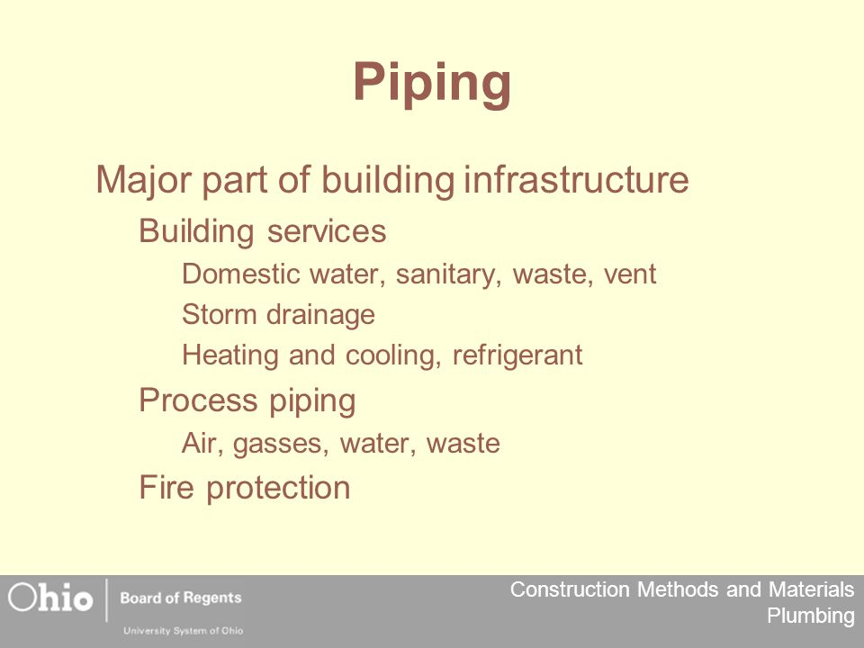 Construction Methods and Materials Plumbing Piping Major part of building infrastructure Building services Domestic water, sanitary, waste, vent Storm