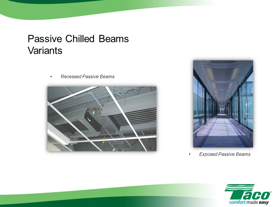 Passive Chilled Beams Variants Recessed Passive Beams Exposed Passive Beams