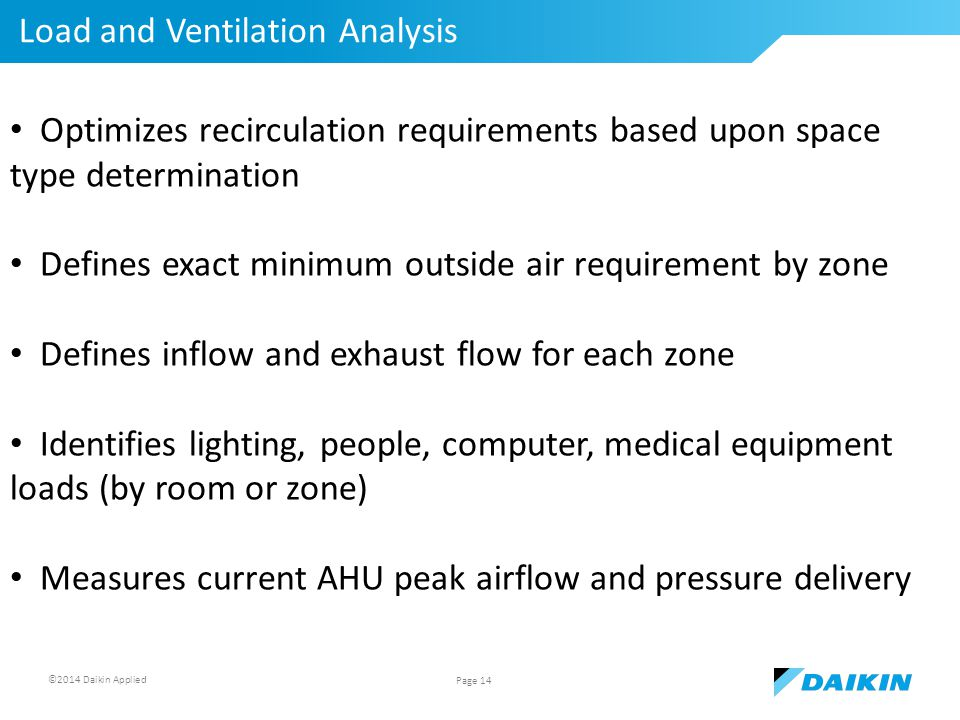 ©2014 Daikin Applied Load and Ventilation Analysis Page 14 Optimizes recirculation requirements based upon space type determination Defines exact minimum outside air requirement by zone Defines inflow and exhaust flow for each zone Identifies lighting, people, computer, medical equipment loads (by room or zone) Measures current AHU peak airflow and pressure delivery