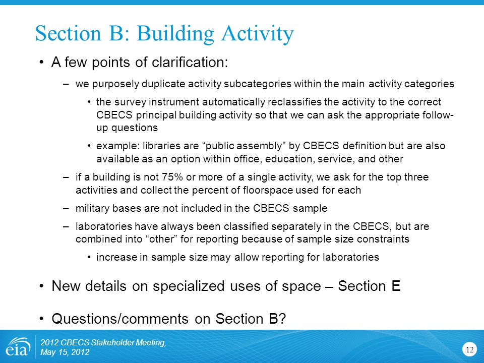 Section B: Building Activity 12 A few points of clarification: –we purposely duplicate activity subcategories within the main activity categories the