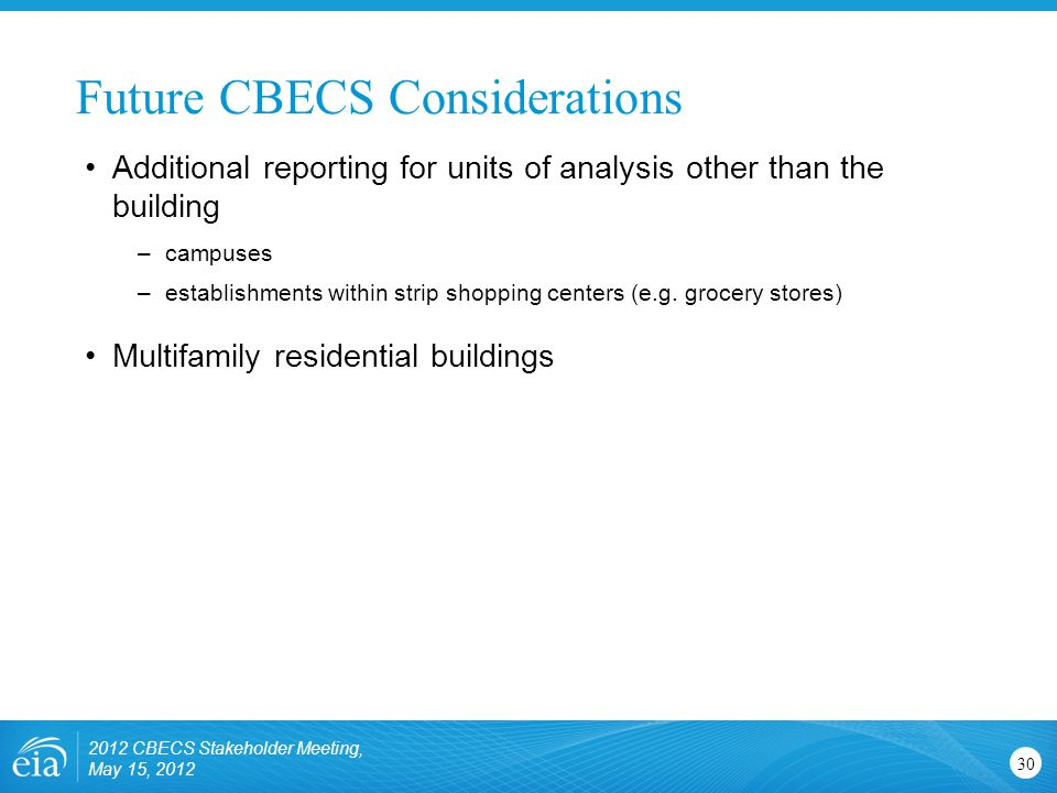 Future CBECS Considerations 30 Additional reporting for units of analysis other than the building –campuses –establishments within strip shopping cent