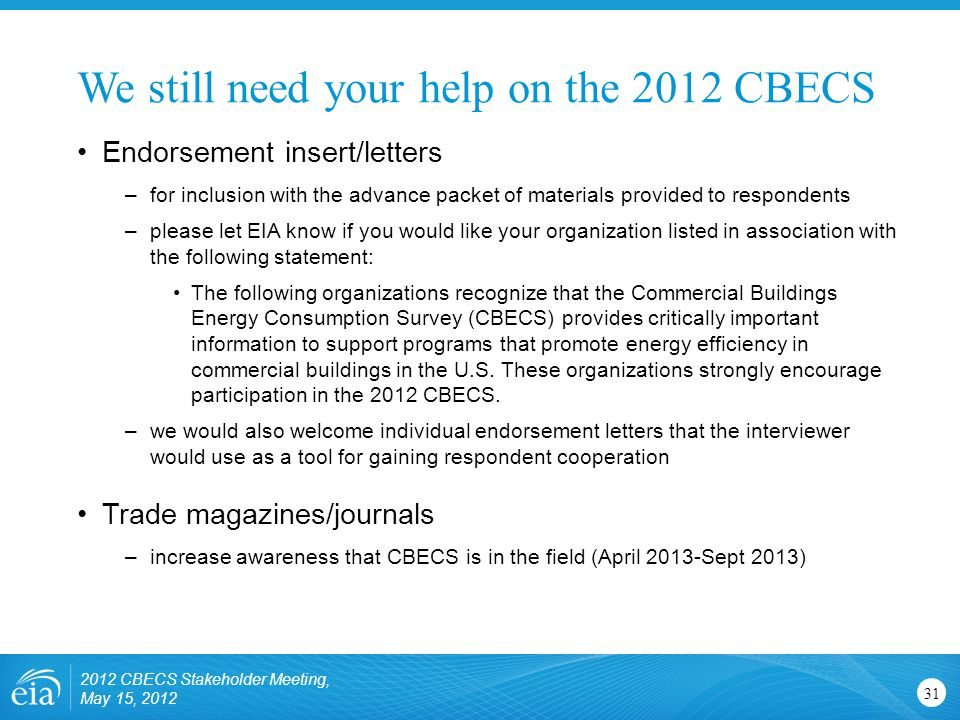 We still need your help on the 2012 CBECS 31 Endorsement insert/letters –for inclusion with the advance packet of materials provided to respondents –p