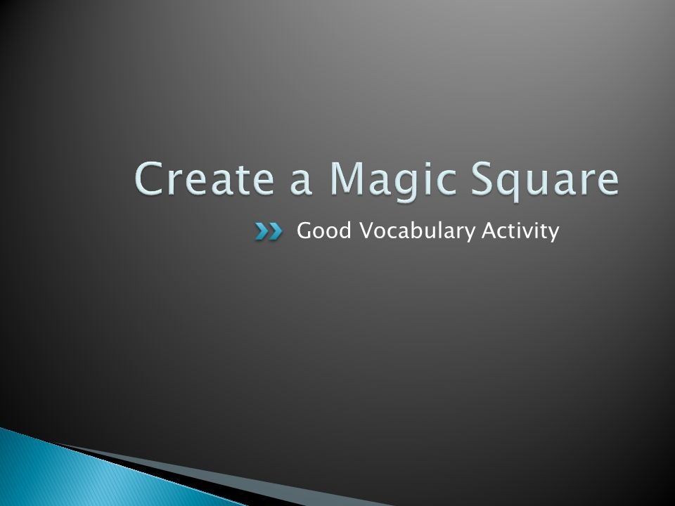 Good Vocabulary Activity