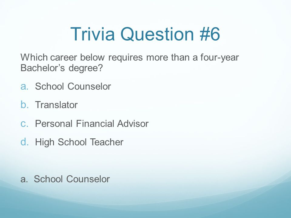 Trivia Question #6 Which career below requires more than a four-year Bachelor's degree.