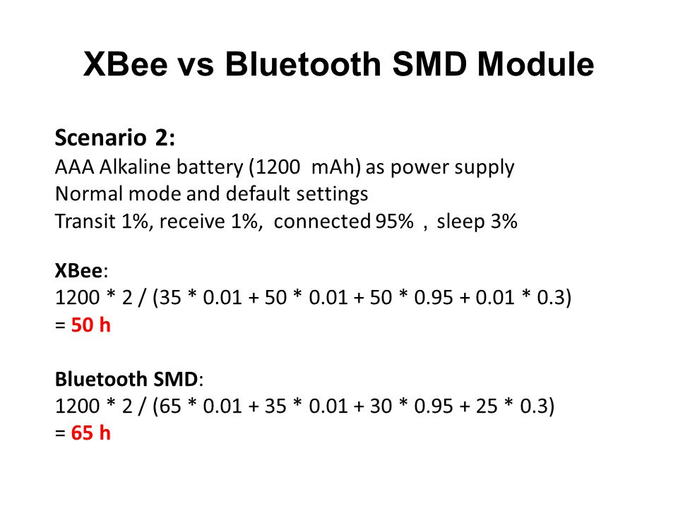 XBee vs Bluetooth SMD Module Scenario 2: AAA Alkaline battery (1200 mAh) as power supply Normal mode and default settings Transit 1%, receive 1%, connected 95% , sleep 3% XBee: 1200 * 2 / (35 * 0.01 + 50 * 0.01 + 50 * 0.95 + 0.01 * 0.3) = 50 h Bluetooth SMD: 1200 * 2 / (65 * 0.01 + 35 * 0.01 + 30 * 0.95 + 25 * 0.3) = 65 h