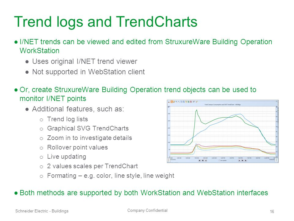 Company Confidential Schneider Electric - Buildings 16 Trend logs and TrendCharts ●I/NET trends can be viewed and edited from StruxureWare Building Operation WorkStation ●Uses original I/NET trend viewer ●Not supported in WebStation client ●Or, create StruxureWare Building Operation trend objects can be used to monitor I/NET points ●Additional features, such as: o Trend log lists o Graphical SVG TrendCharts o Zoom in to investigate details o Rollover point values o Live updating o 2 values scales per TrendChart o Formating – e.g.
