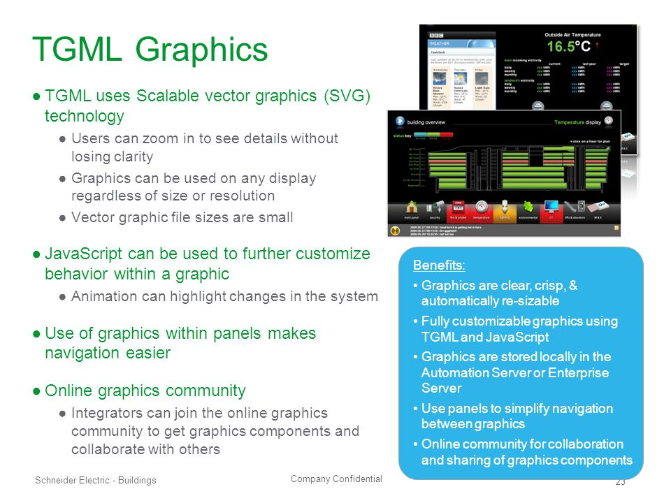 Company Confidential Schneider Electric - Buildings 23 TGML Graphics ●TGML uses Scalable vector graphics (SVG) technology ●Users can zoom in to see details without losing clarity ●Graphics can be used on any display regardless of size or resolution ●Vector graphic file sizes are small ●JavaScript can be used to further customize behavior within a graphic ●Animation can highlight changes in the system ●Use of graphics within panels makes navigation easier ●Online graphics community ●Integrators can join the online graphics community to get graphics components and collaborate with others Benefits: Graphics are clear, crisp, & automatically re-sizable Fully customizable graphics using TGML and JavaScript Graphics are stored locally in the Automation Server or Enterprise Server Use panels to simplify navigation between graphics Online community for collaboration and sharing of graphics components