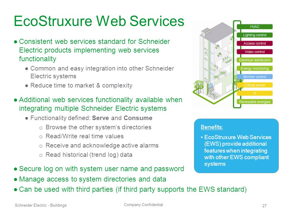 Company Confidential Schneider Electric - Buildings 27 EcoStruxure Web Services ●Consistent web services standard for Schneider Electric products implementing web services functionality ●Common and easy integration into other Schneider Electric systems ●Reduce time to market & complexity ●Additional web services functionality available when integrating multiple Schneider Electric systems ●Functionality defined: Serve and Consume o Browse the other system's directories o Read/Write real time values o Receive and acknowledge active alarms o Read historical (trend log) data ●Secure log on with system user name and password ●Manage access to system directories and data ●Can be used with third parties (if third party supports the EWS standard) Benefits: EcoStruxure Web Services (EWS) provide additional features when integrating with other EWS compliant systems