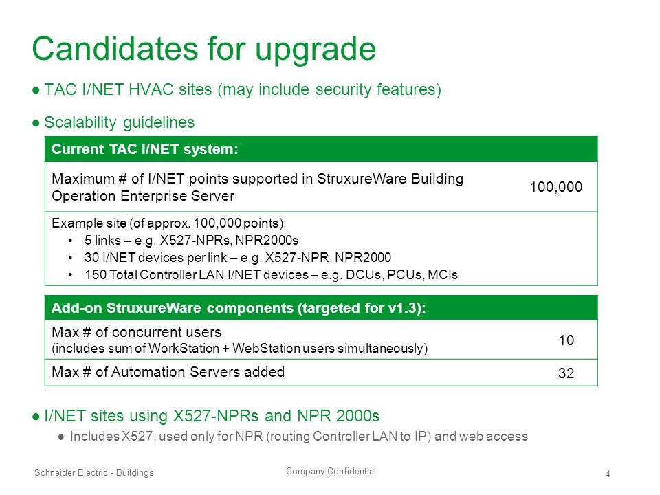 Company Confidential Schneider Electric - Buildings 4 Candidates for upgrade ●TAC I/NET HVAC sites (may include security features) ●Scalability guidelines ●I/NET sites using X527-NPRs and NPR 2000s ●Includes X527, used only for NPR (routing Controller LAN to IP) and web access Current TAC I/NET system: Maximum # of I/NET points supported in StruxureWare Building Operation Enterprise Server 100,000 Example site (of approx.