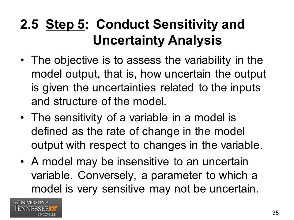 2.5 Step 5: Conduct Sensitivity and Uncertainty Analysis The objective is to assess the variability in the model output, that is, how uncertain the ou