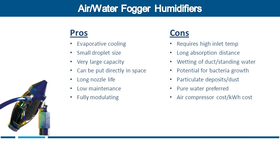 Pros Evaporative cooling Small droplet size Very large capacity Can be put directly in space Long nozzle life Low maintenance Fully modulating Cons Requires high inlet temp Long absorption distance Wetting of duct/standing water Potential for bacteria growth Particulate deposits/dust Pure water preferred Air compressor cost/kWh cost