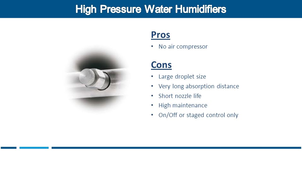 Pros No air compressor Cons Large droplet size Very long absorption distance Short nozzle life High maintenance On/Off or staged control only