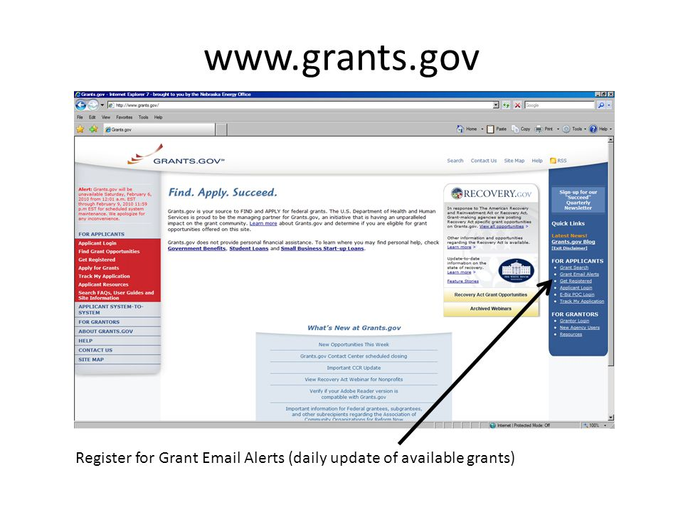 www.grants.gov Register for Grant Email Alerts (daily update of available grants)