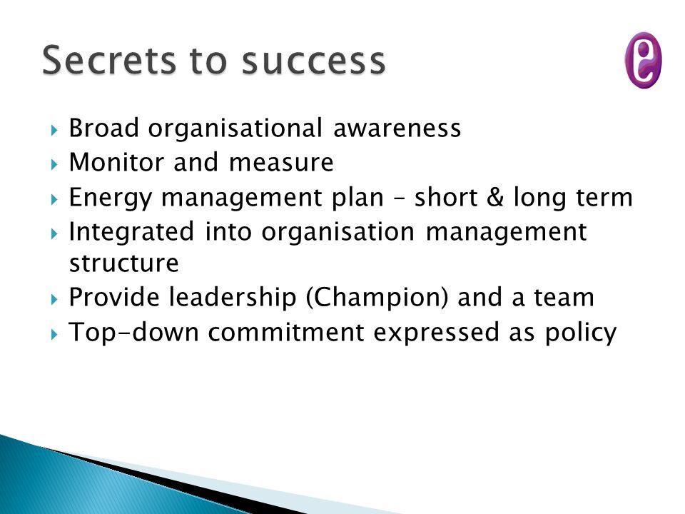  Broad organisational awareness  Monitor and measure  Energy management plan – short & long term  Integrated into organisation management structur