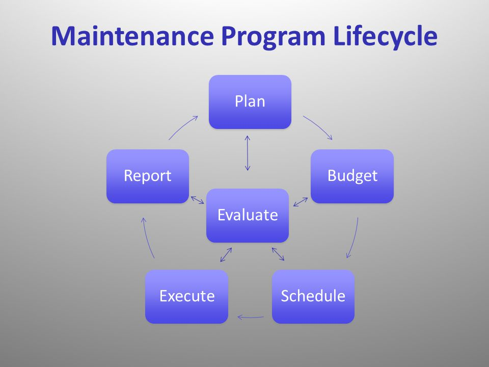 Plan Budget Schedule Execute Report Maintenance Program Lifecycle Evaluate