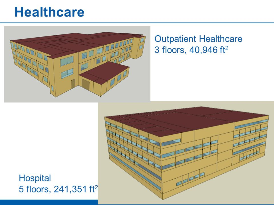 Healthcare Outpatient Healthcare 3 floors, 40,946 ft 2 Hospital 5 floors, 241,351 ft 2