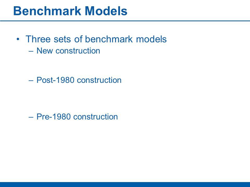 Benchmark Models Three sets of benchmark models –New construction –Post-1980 construction –Pre-1980 construction