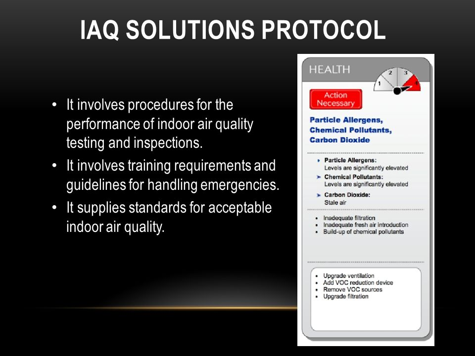 IAQ SOLUTIONS PROTOCOL It involves procedures for the performance of indoor air quality testing and inspections.