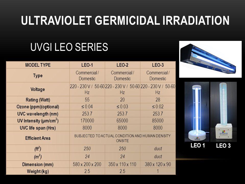 ULTRAVIOLET GERMICIDAL IRRADIATION LEO 3 LEO 2 UVGI LEO SERIES LEO 1