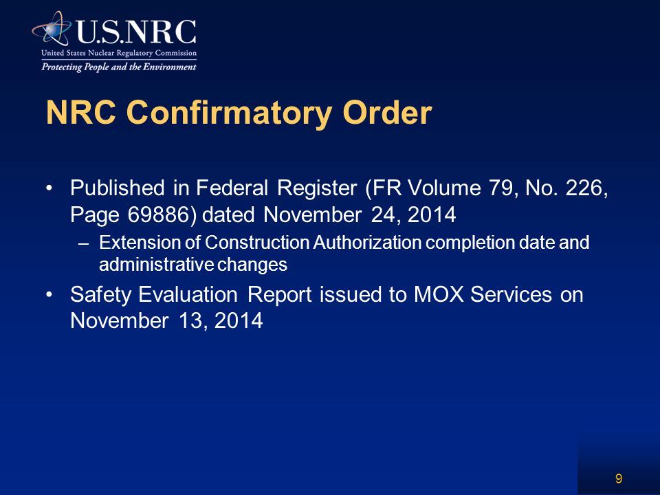 NRC Confirmatory Order Published in Federal Register (FR Volume 79, No. 226, Page 69886) dated November 24, 2014 –Extension of Construction Authorizat