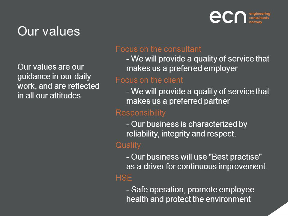 Our values Focus on the consultant - We will provide a quality of service that makes us a preferred employer Focus on the client - We will provide a q