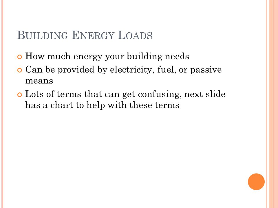 B UILDING E NERGY L OADS How much energy your building needs Can be provided by electricity, fuel, or passive means Lots of terms that can get confusing, next slide has a chart to help with these terms
